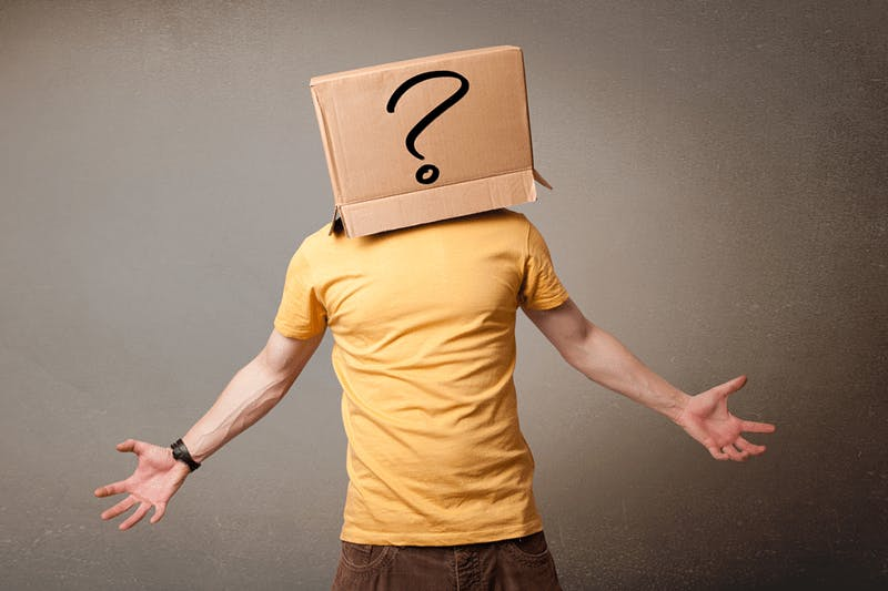Man with a question mark box on the head