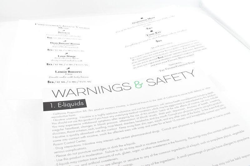 Vapebox Warning-Menu