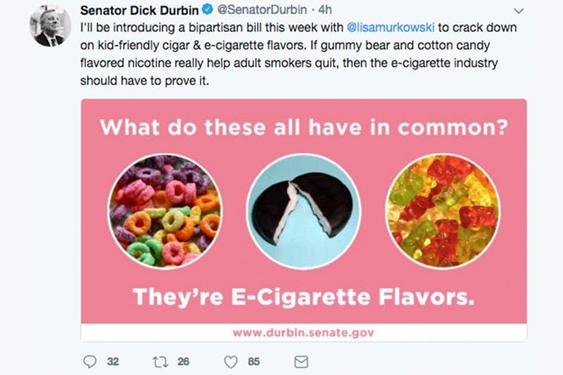 Image result for Senator Durbin Tweet about flavors