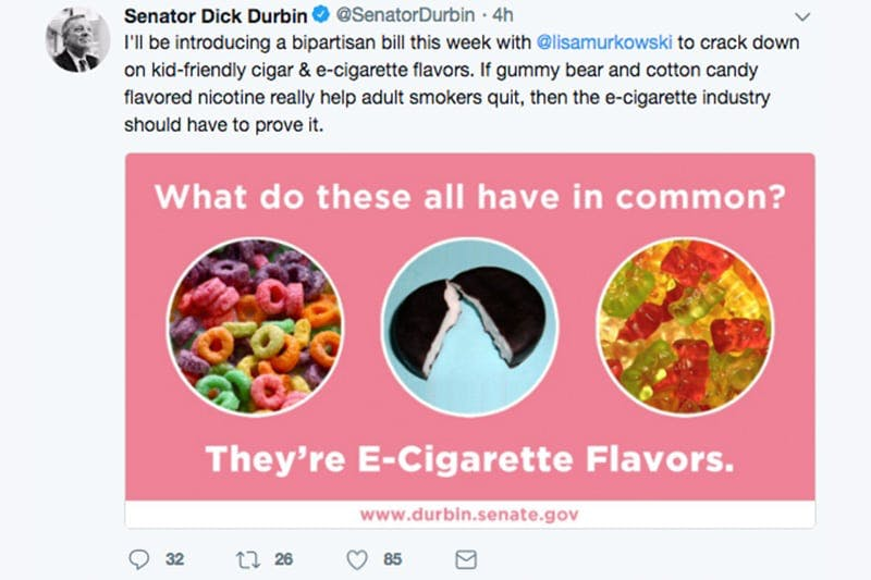 Senator Durbin Tweet about flavors