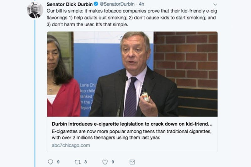 Senator Durbin Tweet about e-cigarette