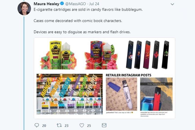 Maura Healey juul products tweet