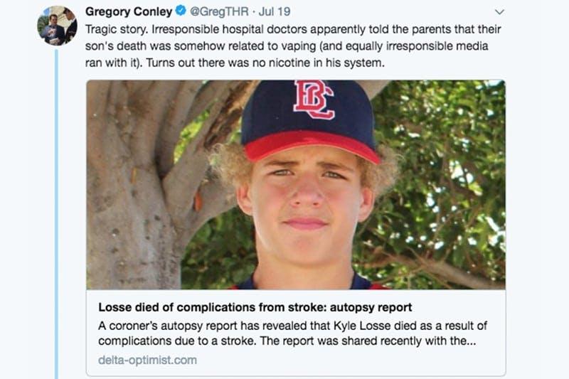 Tweet dead teen vaping